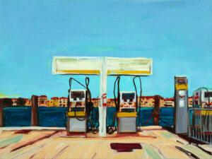 Mein sehr kleines Venedig! Tankstelle, 2020 Öl auf Holz, 30 x 40 cm
