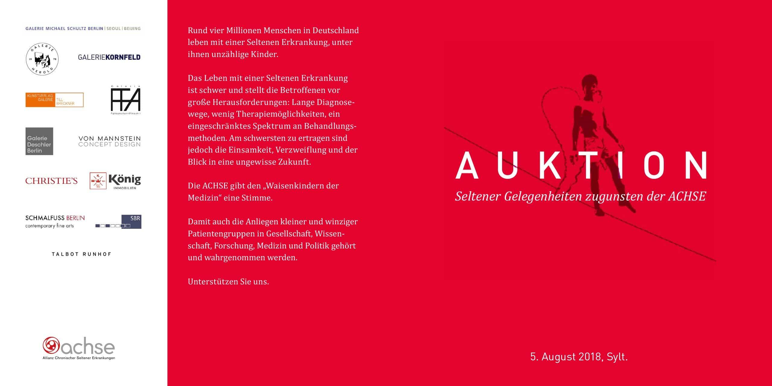 Auktion Seltener Gelegenheiten zugunsten der Achse – 5. August 2018, Sylt.