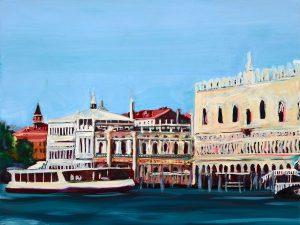 Dogenpalast Venedig, 2020, Öl auf Holz, 30 × 40 cm