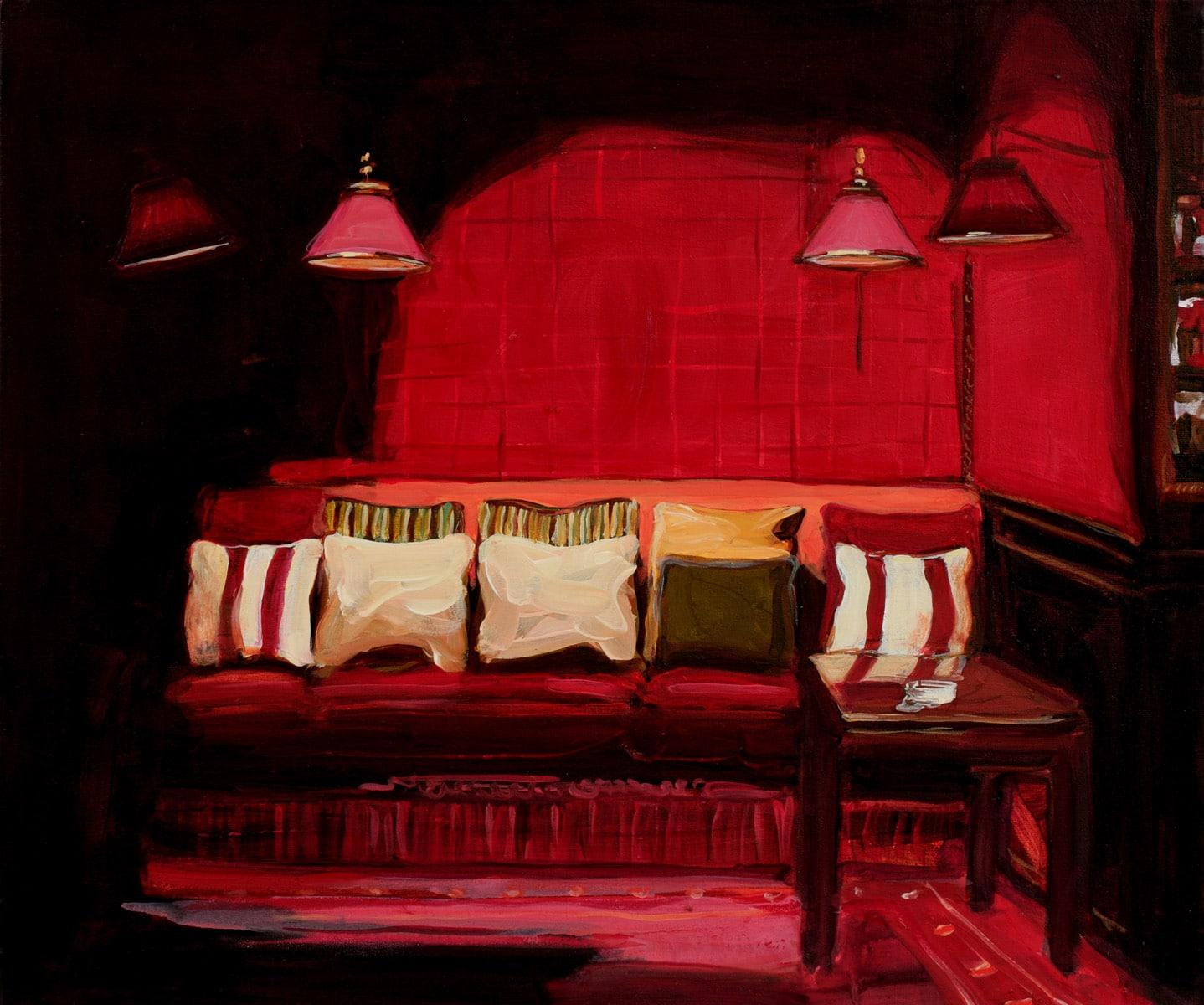Serie Brenners Parkhotel- Sofa mit rot-weiß gestreiften Kissen