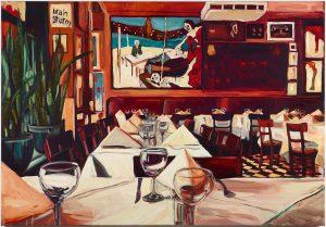 ...to the absent friends! Paris Bar 2018, Paris Bar, Öl auf Leinwand, 90 x 130 cm