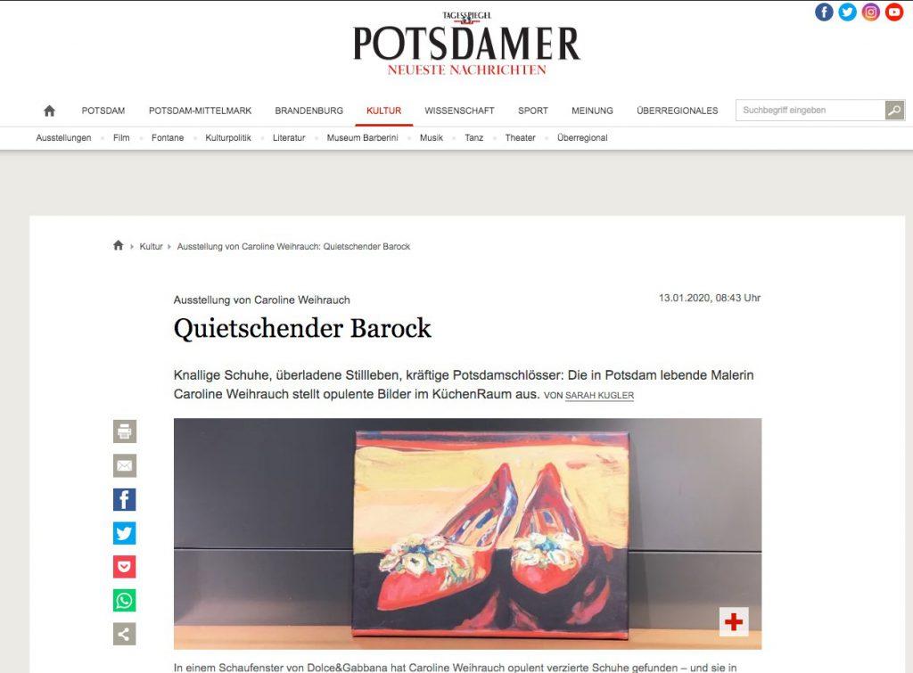 Potsdamer Neue Nachrichten: Ausstellung von Caroline Weihrauch Quietschender Barock